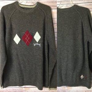 Billabong XL Wool Blend Argyle Sweater MINT